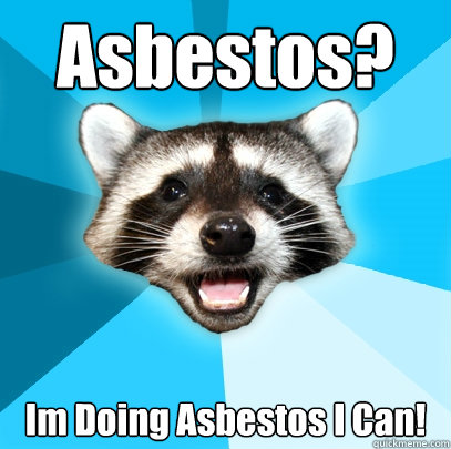 asbestos im doing asbestos i can - Lame Pun Coon