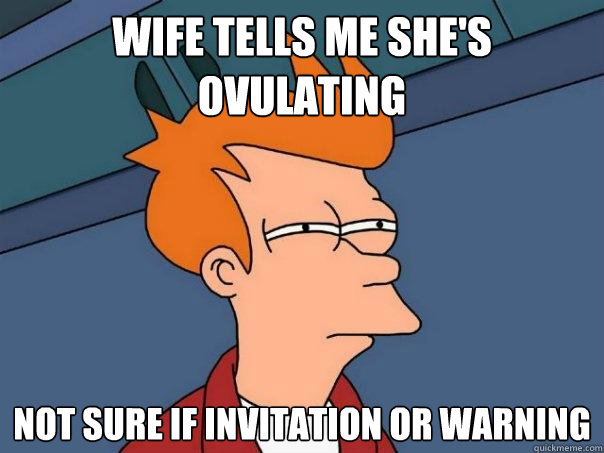 wife tells me shes ovulating not sure if invitation or warn - Futurama Fry