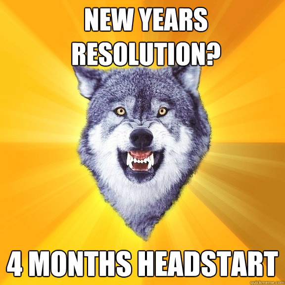 new years resolution 4 months headstart - Courage Wolf