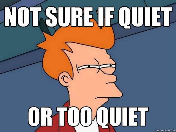 not sure if quiet or too quiet - Futurama Fry