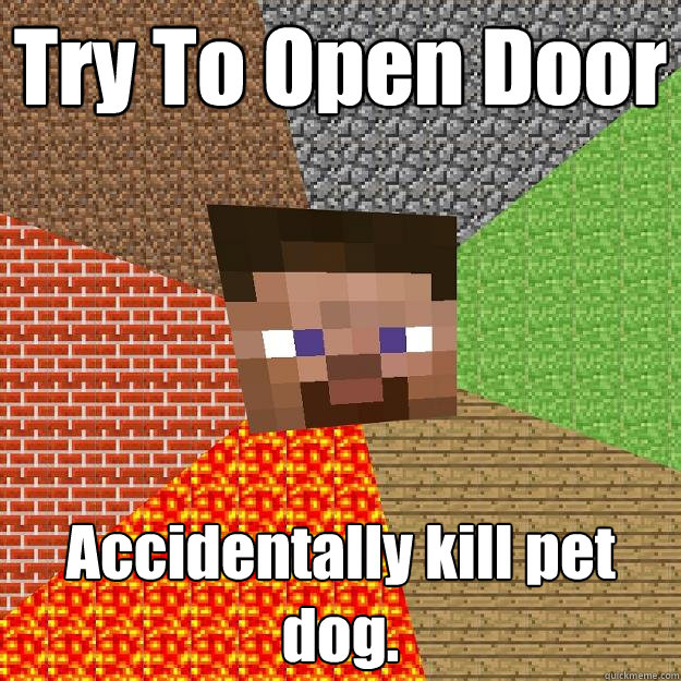try to open door accidentally kill pet dog  - Minecraft