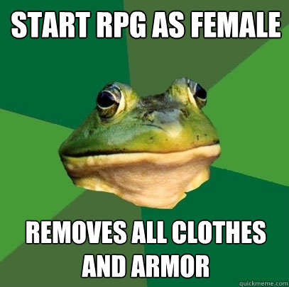 start rpg as female removes all clothes and armor - Foul Bachelor Frog