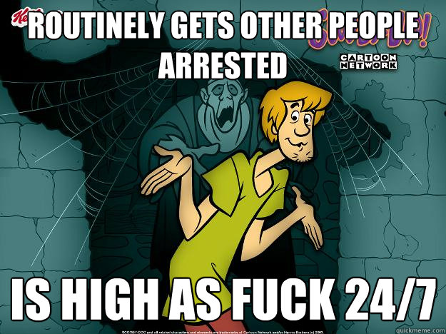 routinely gets other people arrested is high as fuck 247 - Irrational Shaggy