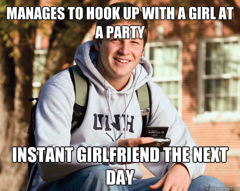 manages to hook up with a girl at a party instant girlfriend - College Freshman