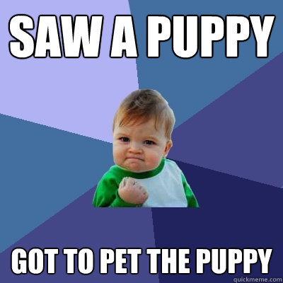 saw a puppy got to pet the puppy - Success Kid