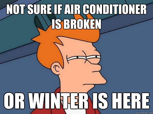 not sure if air conditioner is broken or winter is here - Futurama Fry