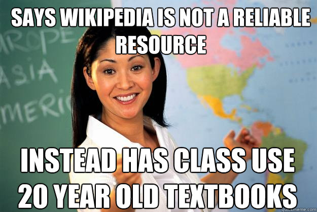 says wikipedia is not a reliable resource instead has class  - Unhelpful High School Teacher