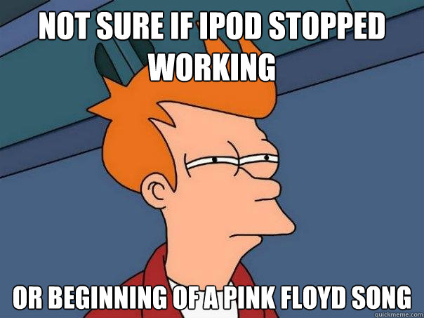 not sure if ipod stopped working or beginning of a pink floy - Futurama Fry