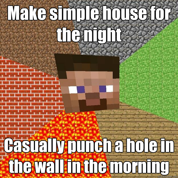 make simple house for the night casually punch a hole in the - Minecraft