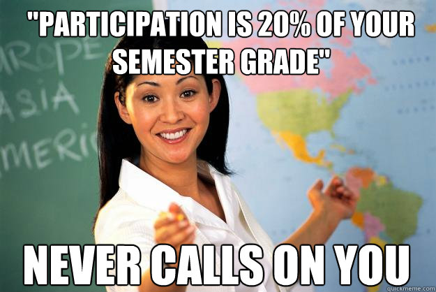 participation is 20 of your semester grade never calls on - Unhelpful High School Teacher