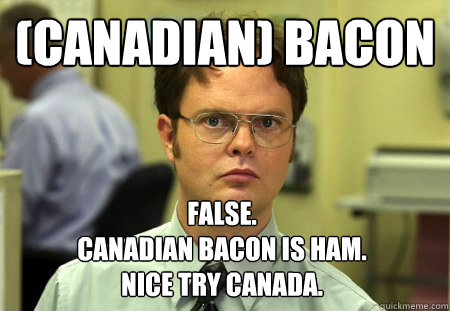 canadian bacon false canadian bacon is ham nice try ca - Dwight