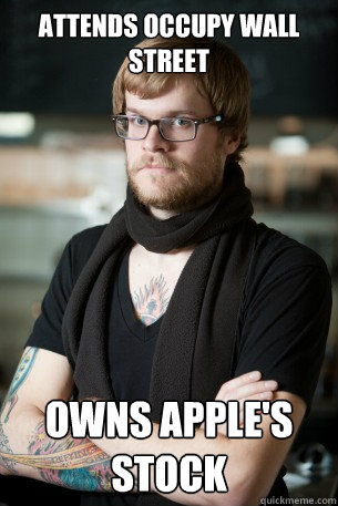attends occupy wall street owns apples stock - Hipster Barista