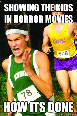 showing the kids in horror movies how its done - Intense Cross Country Kid