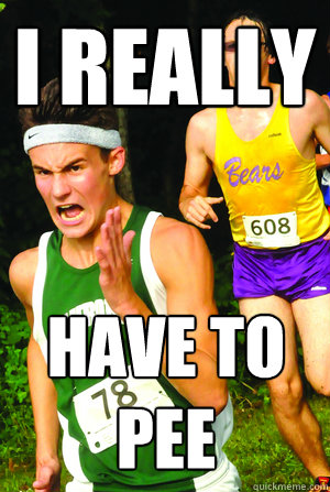 i really have to pee - Intense Cross Country Kid