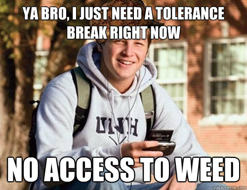 ya bro i just need a tolerance break right now no access to - College Freshman