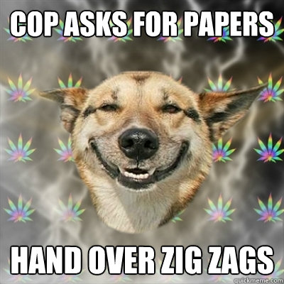 cop asks for papers hand over zig zags - Stoner Dog