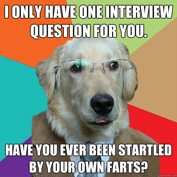 i only have one interview question for you have you ever b - Business Dog