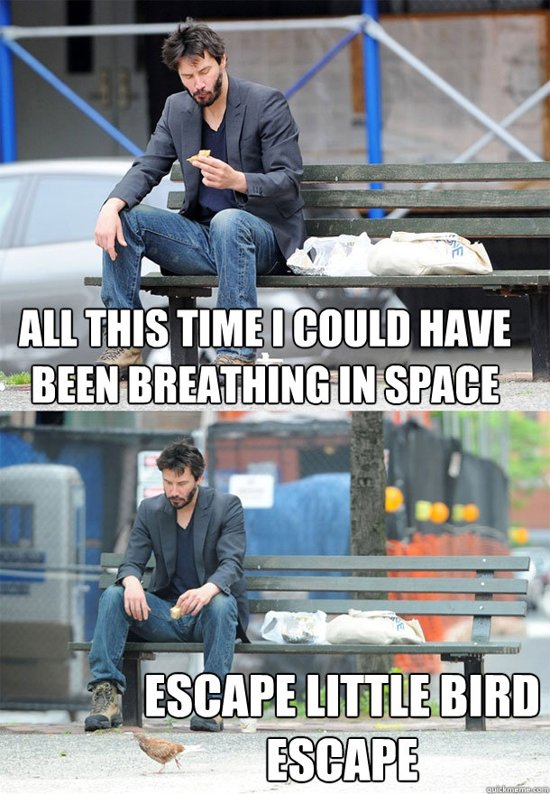 all this time i could have been breathing in space escape li - Sad Keanu