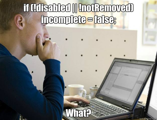 if disabled notremoved incomplete false what - Programmer