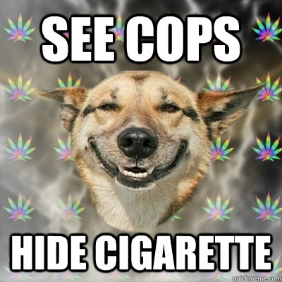 see cops hide cigarette - Stoner Dog
