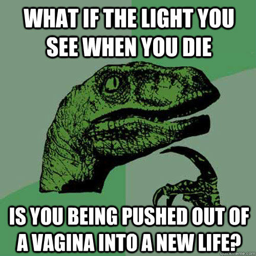 what if the light you see when you die is you being pushed o - Philosoraptor