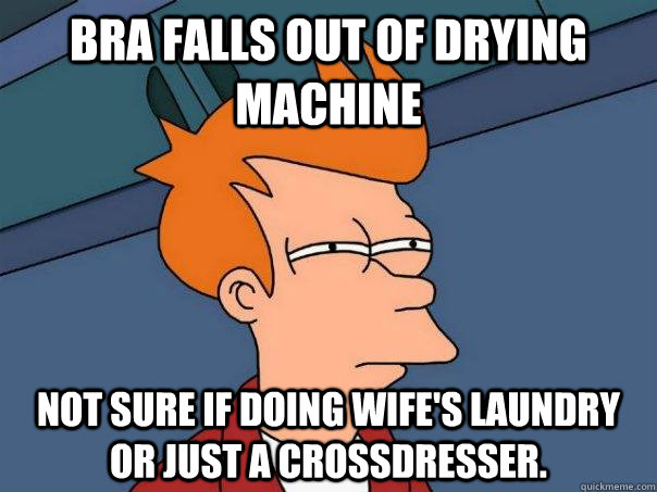bra falls out of drying machine not sure if doing wifes lau - Futurama Fry
