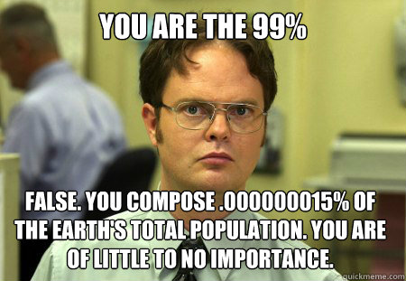 you are the 99 false you compose 000000015 of the earth - Dwight