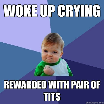 woke up crying rewarded with pair of tits - Success Kid