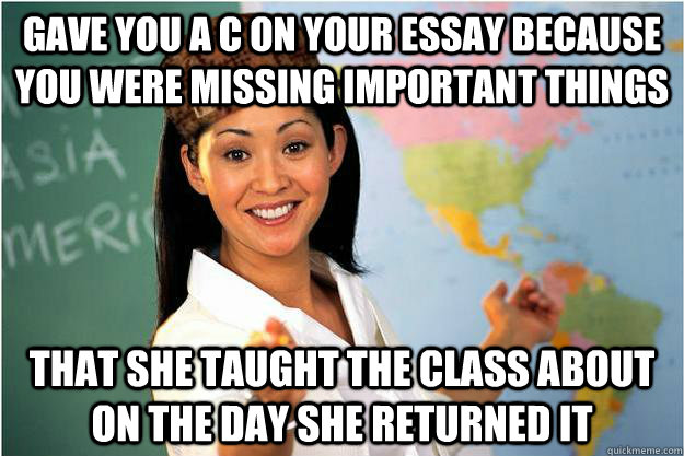 gave you a c on your essay because you were missing importan - Scumbag Teacher
