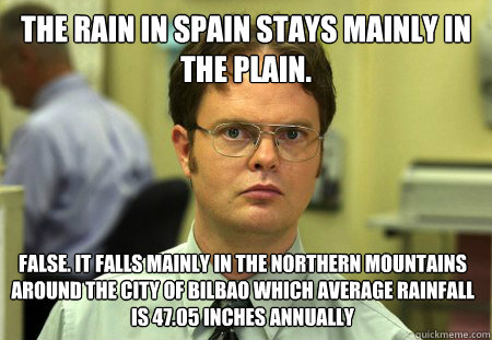 the rain in spain stays mainly in the plain false it falls - Dwight