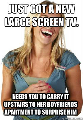 just got a new large screen tv needs you to carry it upstai - Friend Zone Fiona