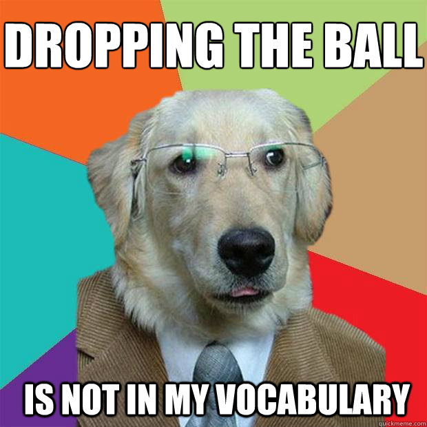 dropping the ball is not in my vocabulary  - Business Dog