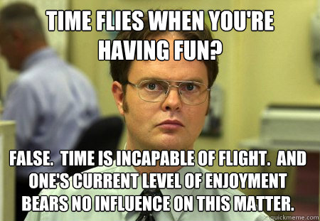 time flies when youre having fun false time is incapable - Dwight