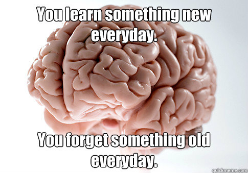 you learn something new everyday you forget something old e - Scumbag Brain