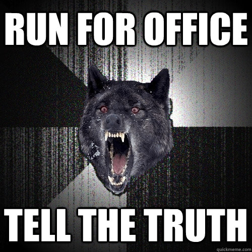 run for office tell the truth - Insanity Wolf