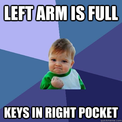 left arm is full keys in right pocket - Success Kid