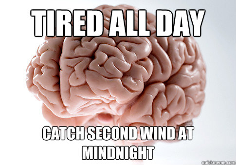 tired all day catch second wind at mindnight - Scumbag Brain