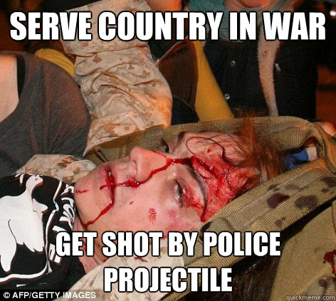 serve country in war get shot by police projectile - Scott Olsen Occupy
