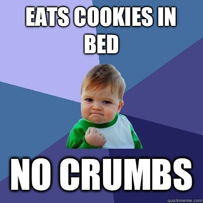 Eats cookies in bed no crumbs - Success Kid