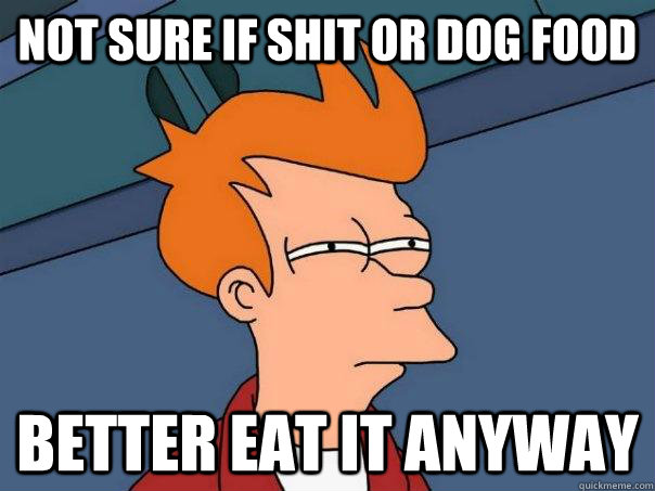 not sure if shit or dog food better eat it anyway - Futurama Fry