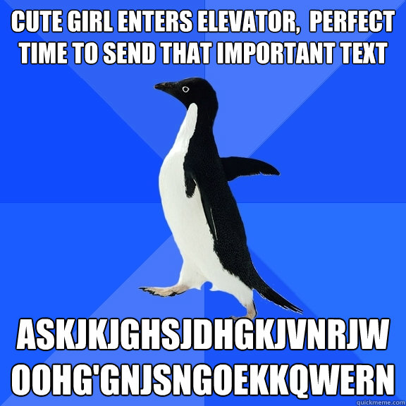 cute girl enters elevator perfect time to send that import - Socially Awkward Penguin