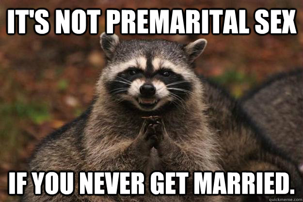 its not premarital sex if you never get married  - Evil Plotting Raccoon