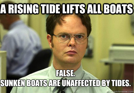 a rising tide lifts all boats false sunken boats are unaffe - Schrute