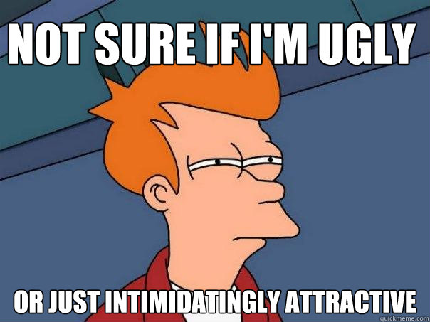not sure if im ugly or just intimidatingly attractive - Futurama Fry