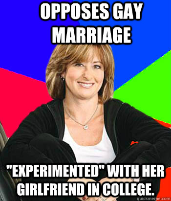opposes gay marriage experimented with her girlfriend in c - Sheltering Suburban Mom