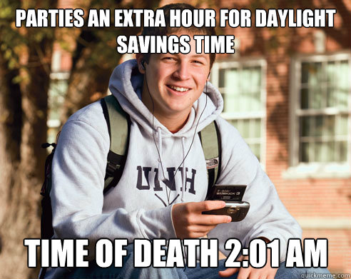 parties an extra hour for daylight savings time time of deat - College Freshman