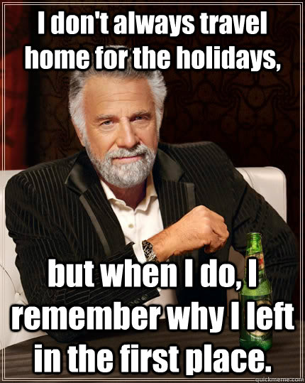 i dont always travel home for the holidays but when i do  - The Most Interesting Man In The World