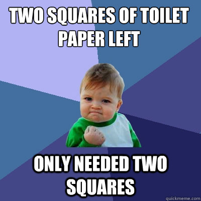 two squares of toilet paper left only needed two squares - Success Kid