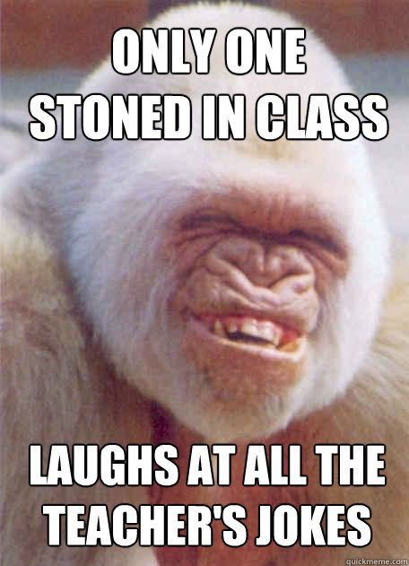 laughs at all the teachers jokes only one stoned in class - Icantstoplaughing