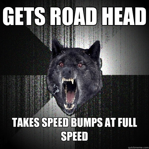 gets road head takes speed bumps at full speed - Insanity Wolf